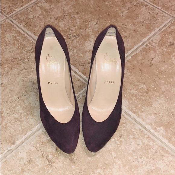 "c53bb547846 Christian Louboutin ""Breche 100mm"" heels Burgundy"